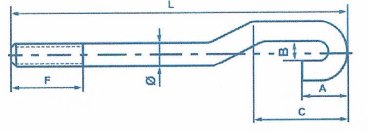 Boulons d'ancrage en forme de crochet à double cambrure