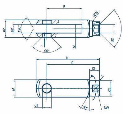 Chape de tringlerie à embase tournante (bras courts)