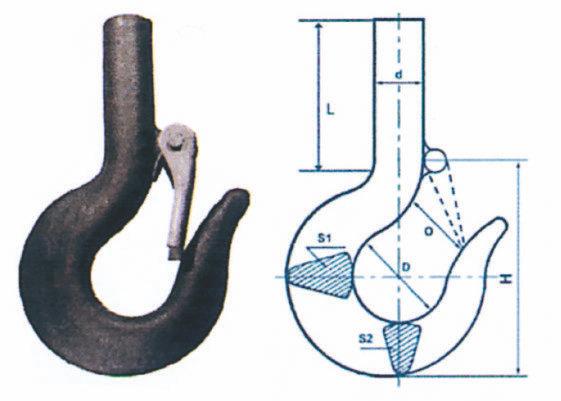 Crochets de levage à tige avec linguet de sécurité