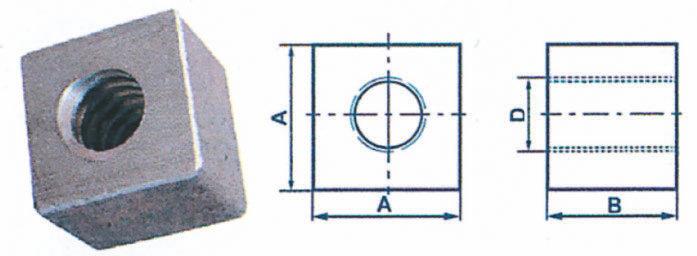 Écrous carrés à taraudage trapézoïdal