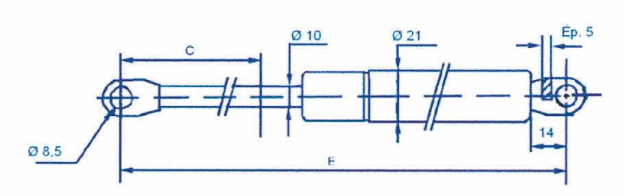 Ressort à gaz - Chapes soudées 10mm