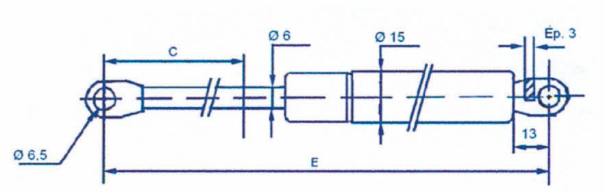 Ressort à gaz - Chapes soudées 6mm