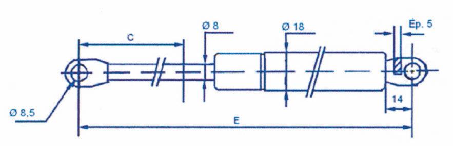 Ressort à gaz - Chapes soudées 8mm